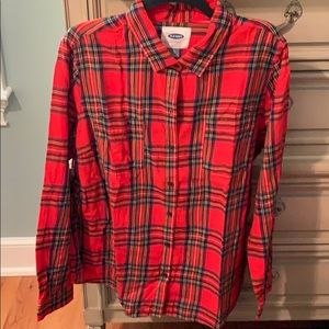 Red plaid button down